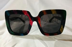 Authentic New Gucci Sunglasses Multicolor 005 GG0328s Women's Square 53mm Shade