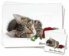 Chaton+Rose 'Love You Mum' Simple 2x Set de table+2x Ensemble De Sous-verres en
