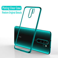 For Xiaomi Redmi Note 8 Pro Clear Transparent Plating Silicone TPU Case Cover
