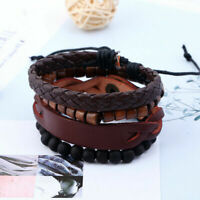Fashion Men's Multilayer Leather Bead Bangle Bracelet Punk Adjustable Wristband
