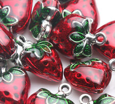 2X Red Strawberry Shape Beads Jewelry Making Pendant Nacklace Charm Craft Gift