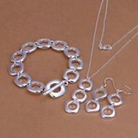 925Sterling Silver Square Cushion Women Bracelet Earrings Necklace Set YS163
