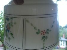 GLASS Lamp  SHADE  Vintage HAND PAINTED milk glass CEILING GLOBE