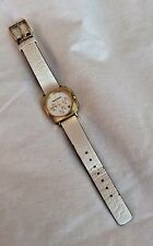 BCBG White Leather Watch Women's With Gold Plated Over Stainless Steel