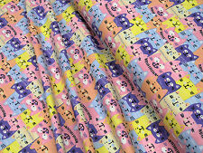 Jersey Little Darling Grin cats cotton knit fabric 0.54yd (0.5m)