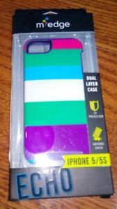 M-Edge Echo Hybrid Case for Apple iPhone 5/5s/SE - Multi Color Stripes / Purple