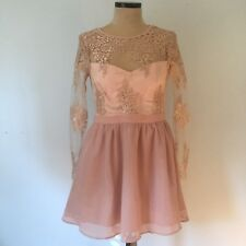 Missguided UK16/US12 Dress Premium Lace Long Sleeve Skater Pink Embroidered
