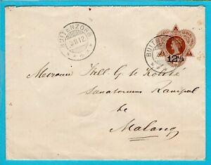 NETHERLANDS EAST INDIES postal envelope 1912 Buitenzorg to Malang