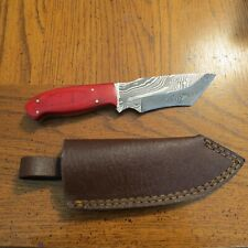 Large Damascus tanto hunting w red laminate  colored handles & leather sheath