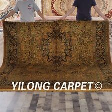 Yilong 7'x8' Half Hand Knotted Area Rug Vintage Gold Handmade Silk Carpets G04F