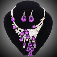Women Golden Purple Crystal Flower Wedding Party Necklace Earring Jewelry Set