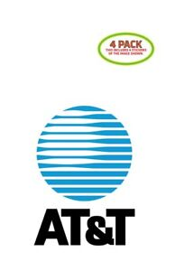 ATT AT&T Sticker Vinyl Decal 4 Pack 3x5 inches