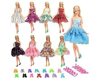 Clothes Barbie Dolls & Shoes / Accessories-5 Outfits, 5 Shoes, 5Hangers
