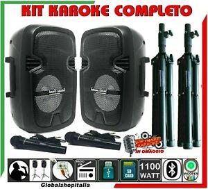 KIT KARAOKE COPPIA CASSE IMPIANTO 1100 W STAND MICROFONI Mp3 USB Bluetooth Radio