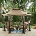 Outdoor Gazebo Canopy Shelter 12 Ft. Hexagon w/ Curtains Bar Counter And Netting