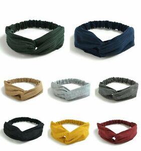 Boho twist knot women headband head wrap turban plain colour twist knot headband