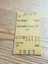 Deutsche Bahn Alte Personenzugkarte Aachen nach Gelsenkirchen 1977
