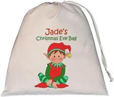Personalised - Elf Christmas Eve Bag - Large Natural Cotton Drawstring Bag
