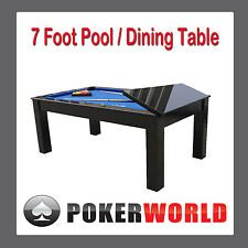SECOND / FLOOR STOCK 7 FT POOL DINING TABLE WITH BLACK FINISH [BLUE FELT]