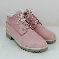 Timberland Pink Nubuck Leather Mid Boots Size 9.5