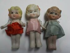 """Bisque Miniature Dolls Movable Arms Lot of 3 Made in Japan 3"""""""
