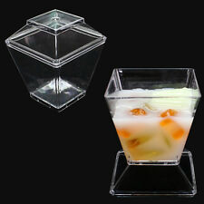 24x Clear Plastic Dessert Cups With Lids Disposable Canape party Dishes Cutlery