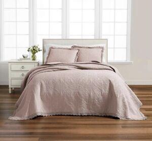 Martha Stewart Collection Crochet Cotton Queen Bedspread Blush Floor Length $260