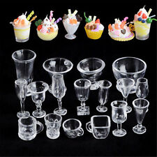 17PCS Clear Ice-Cream Sundae Mini Cup For Dollhouse Miniatures Food Supply NS