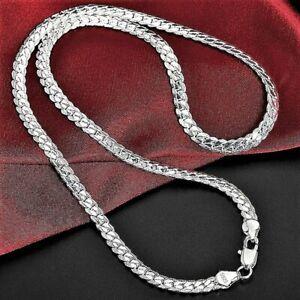 925 Sterling Silver Men's Women's Solid Italian Flat Snake Chain Necklace 6mm