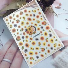 3D Retro Sunflowers Nail Stickers 001