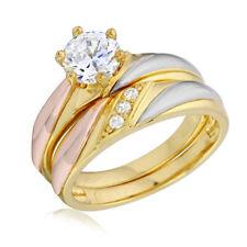 Neues AngebotSterlingsilber Gelb Vergoldet 3 Farbig Verlobung Hochzeit Cz Steine Ring Set