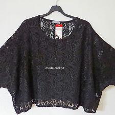 MAGNA kastig weites Oversize Shirt Lagenlook Spitze schwarz one size 46-52