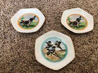 "3 Vintage English Springer Spaniel Pheasant 4"" Miniature Plates Japan Gold Rim"