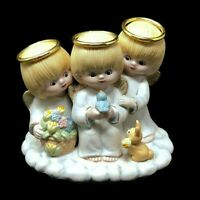 Lefton Three Angels Figurine Porcelain Gold Halo's Vintage