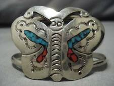 Coral Sterling Silver Bracelet Superior Vintage Navajo Butterfly Turquoise