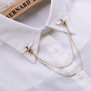 Bee Vintage Brooches Pins Metal Chain Brooch Man Suit Shirt Collar Lapels Tassel