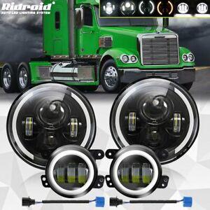 For Freightliner Coronado 7 Inch Round LED Headlights w/ DRL + 4'' Fog Light Kit