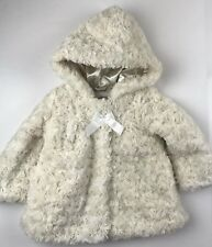 London Fog Infant Girls 12 Months Cream Rosette Faux Fur Jacket Lightweight Coat