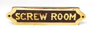 """""""Screw Room"""" Brass on Wood Wall/Door Plaque 8""""W X 2""""H"""