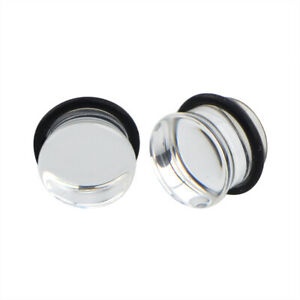 "Pair of Single Flare Glass Plugs Sizes 2GA-13/16"" Clear Black Green Blue E566"