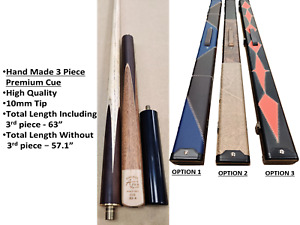 3/4 Handmade 57 - 63 Snooker Pool Cue 9.5mm Tip Cue With blue/red/black case
