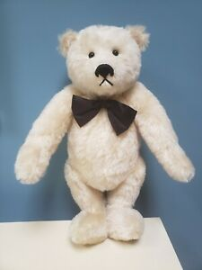 """VINTAGE 18"""" MOHAIR WHITE JOINTED ADORABLE BEAR BY GARY NETT"""