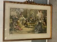 "VINTAGE ORNATE GOLD COLOR FRAME OLD VICTORIAN PEOPLE SCENE PRINT 38.5"" X 18.5"""