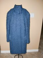 VTG~JAEGER~GREAT BRITAIN~BLUE~KNITTED~MOHAIR~COTTON~WOOL~WOOL~JACKET SIZE 10