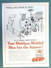 What'll They Dream Up Next Series 1955 Mobil Ad AUTOMATIC FARM FENCE BUILDER