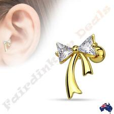 SSteel Gold Ion Plated Tragus/Cartilage Stud with Clear CZ Ribbon