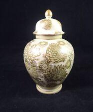"Andrea Sadek Handpainted VASE w/ LID 6.5"" Pale Green, Gold, White Floral Japan"