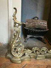 Antique Brass Fireplace Fender | Front Kerb Leaf Fire Rococo Victorian Baroque