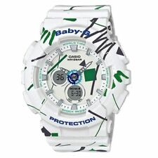 Casio Baby-G BA120SC-7A White Pop Graffiti Analog Digital Watch BA-120SC-7A