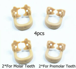 4*Dental Rubber Clamps Resin Kerr Soft Universal Dam Sheet Molar Premolar Teeth